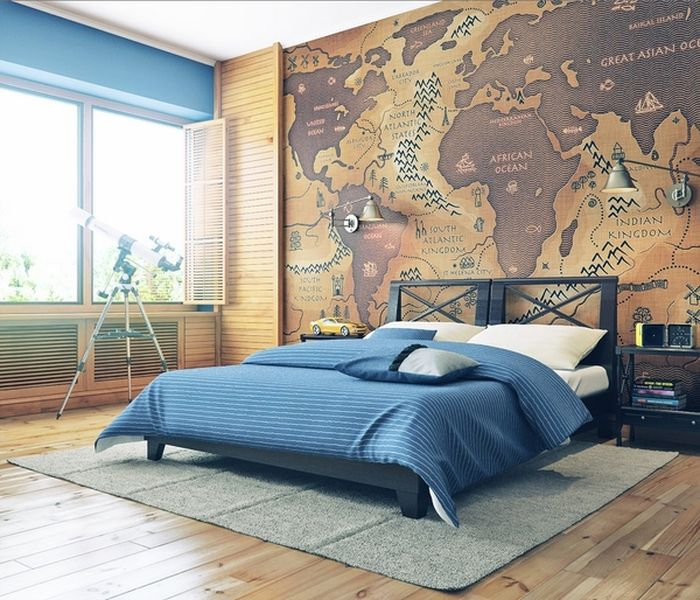Giant-map-mural-and-old-wooden-floor-for-kids-room.