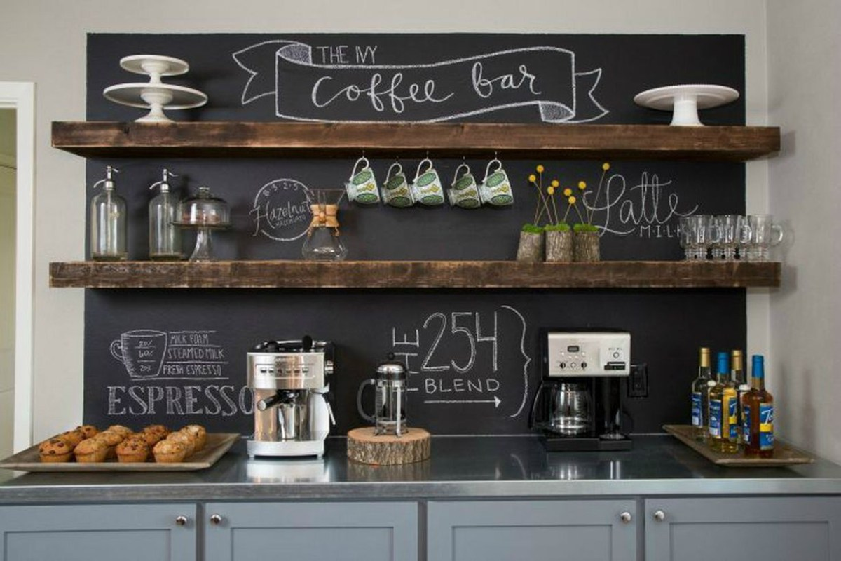 Gray coffee bar design combined with wooden shelves, black boards that look mesmerizing