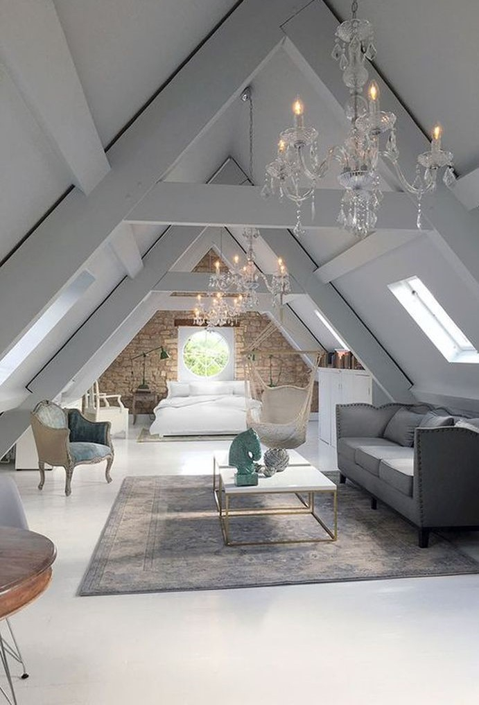 Loft bedroom that merges with the living room