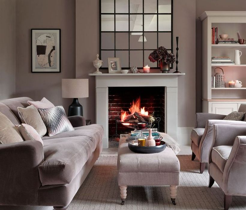 Neutral-color-scheme-living-room-design-with-velvet-light-grey-sofa-table-velvet-rug-to-create-a-cozy-room-and-warm