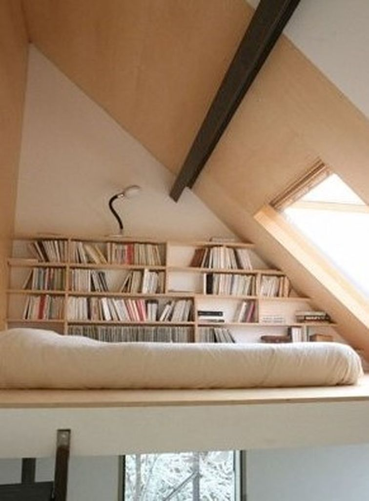 Small loft bedroom combined with bookshelf