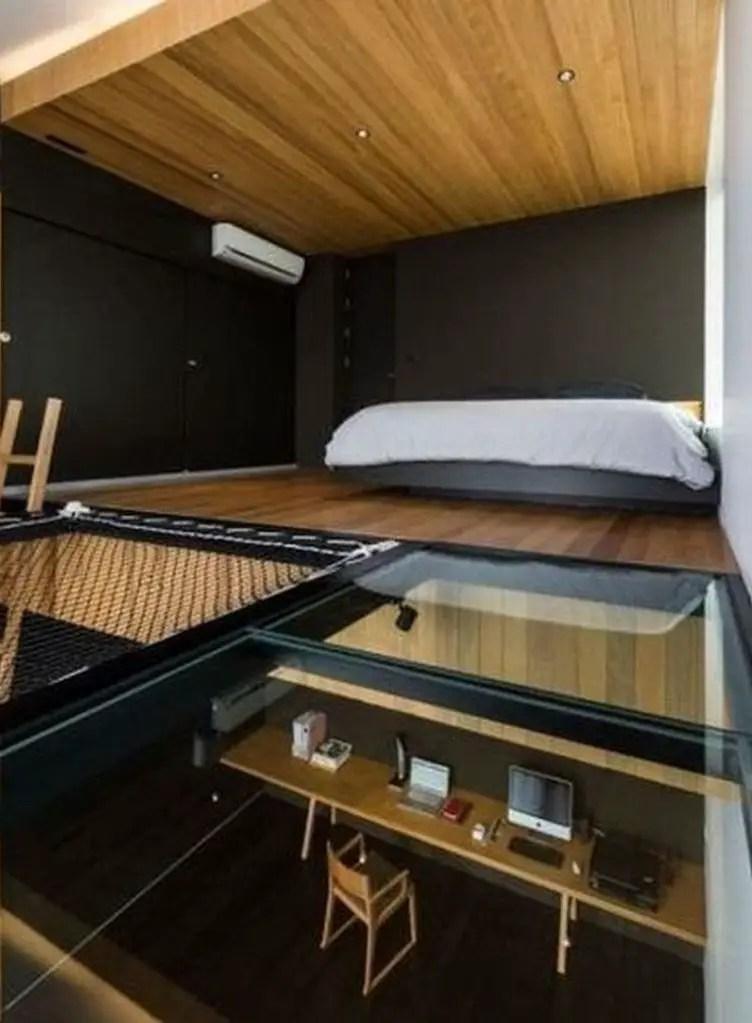 Tiny house with modern loft bedroom
