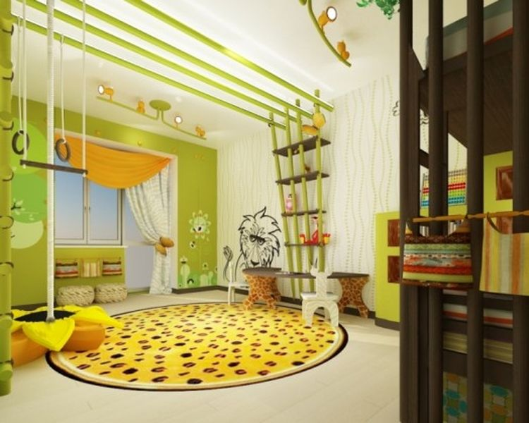 White-and-light-green-theme-animal-mural-for-your-kids-room.