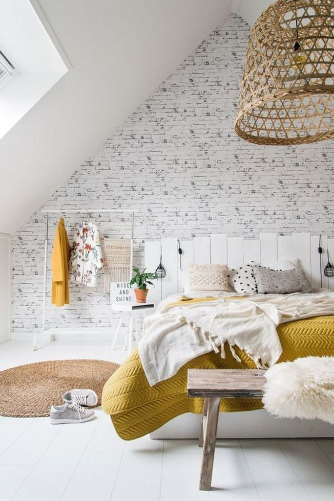 White brick wall for the loft bedroom