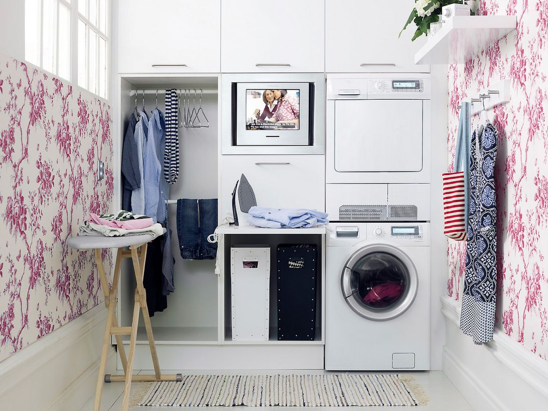 White laundry room ideas with ping flowers painting in the white wall