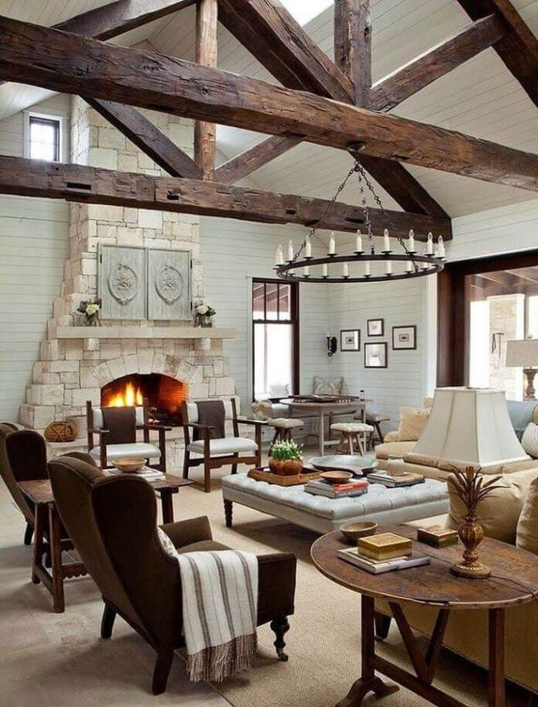 White stone fireplace for farmhouse living room