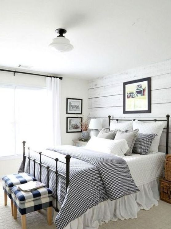 Whitewashed-wooden-walls-checked-and-gingham-prints.-1