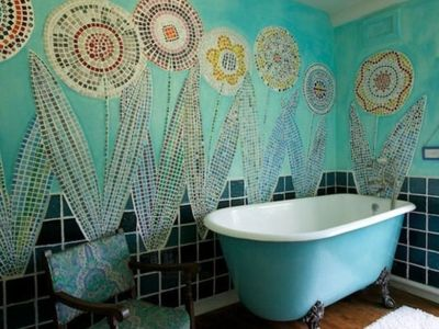 Bright-bohemian-bathroom-design-with-white-bathtub-and-bohemian-patterned-chairs-that-decorate-your-room