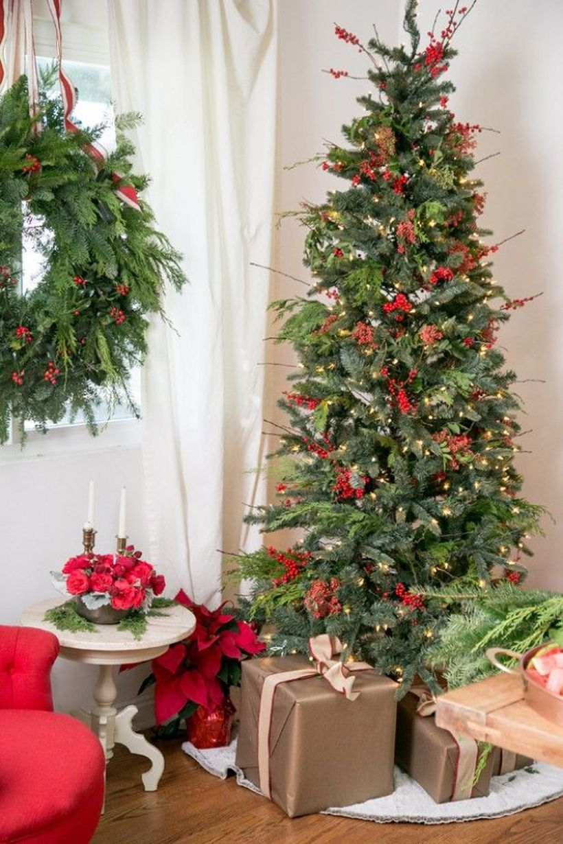 Green-christmas-tree-with-various-gift-boxes-to-decorate-your-living-room-in-the-corner