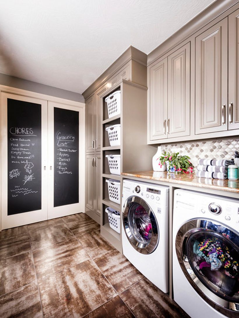 Laundry room with gray wooden cabinet ideas