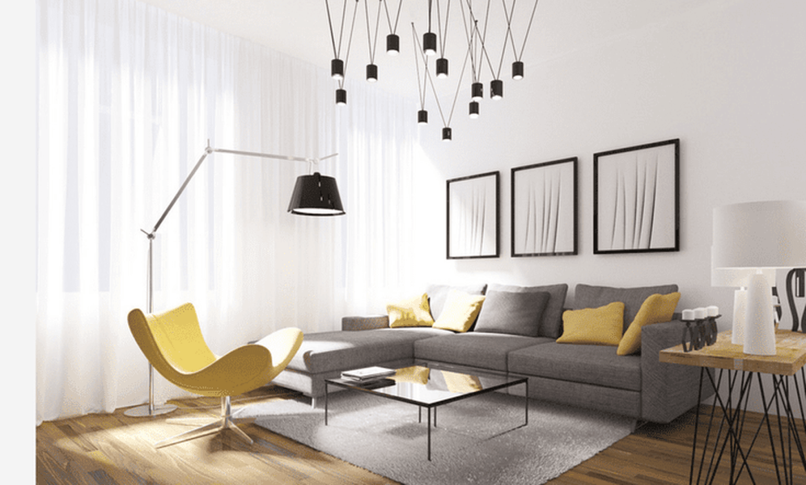 Modern-living-room-design-with-gray-sofa-unique-chair-for-relaxing-in-the-living-room-and-coffee-table-from-glass