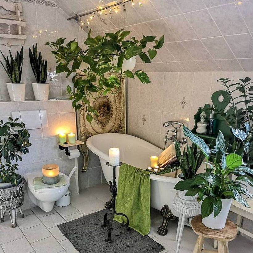 Unique-buffer-table-to-store-pots-greenery-in-your-bathroom-makes-a-cool-atmosphere