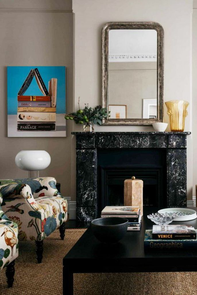A black marble fireplace