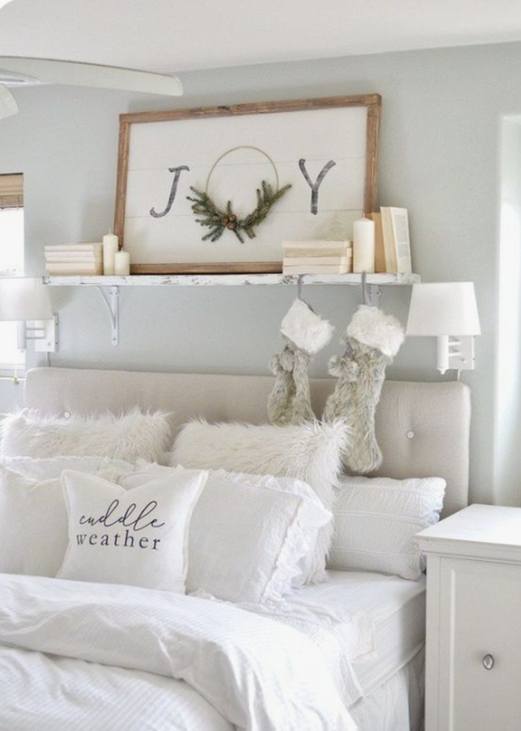 Bright bedroom with all-white color