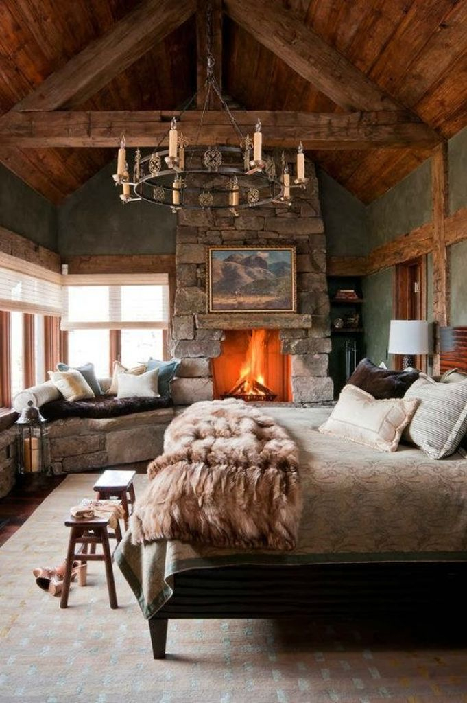 Farmhouse bedroom design with fireplace