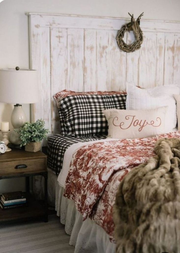 Farmhouse bedroom for winter