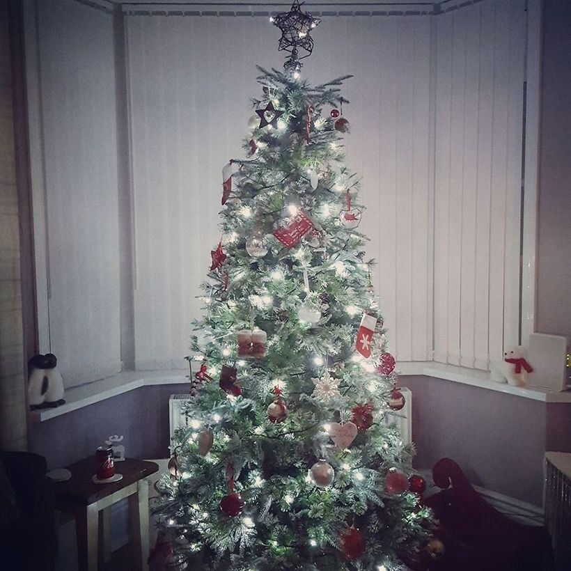 Green chrismast tree with white light and red ornament
