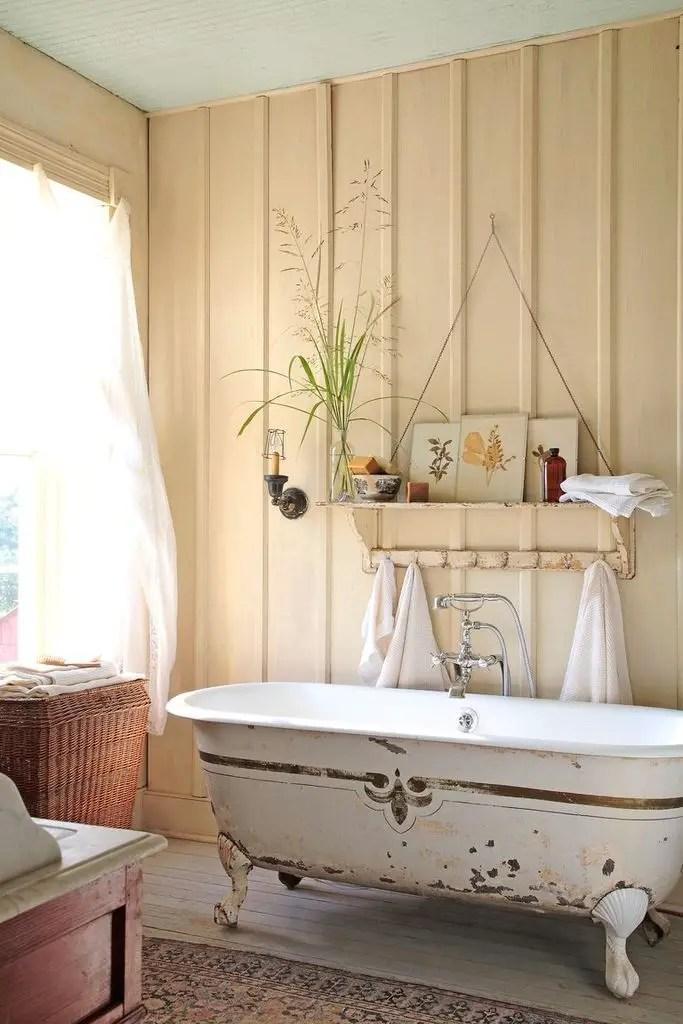 Rustic bathroom with vintage bathtub