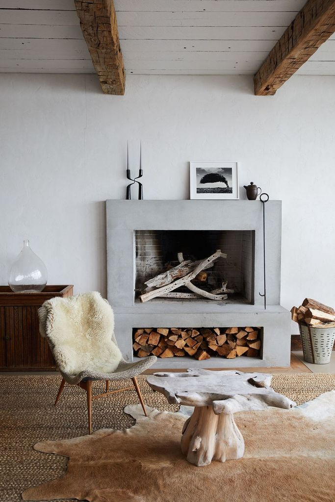 Traditional fireplace in grey