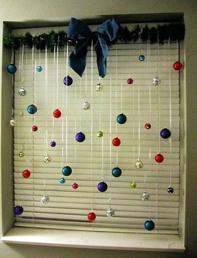 Christmas window combine with colorful ornament ideas