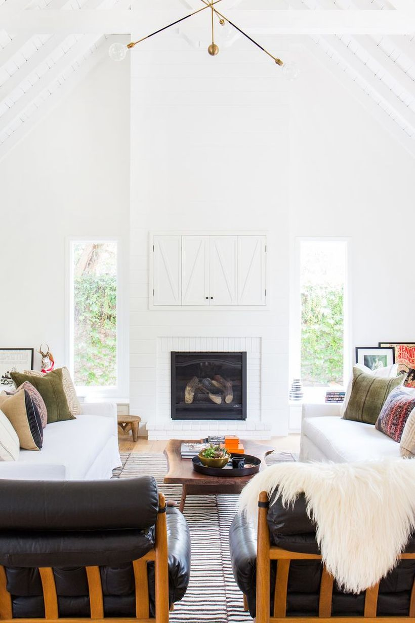 Classic motif and gray cushion with white sofa