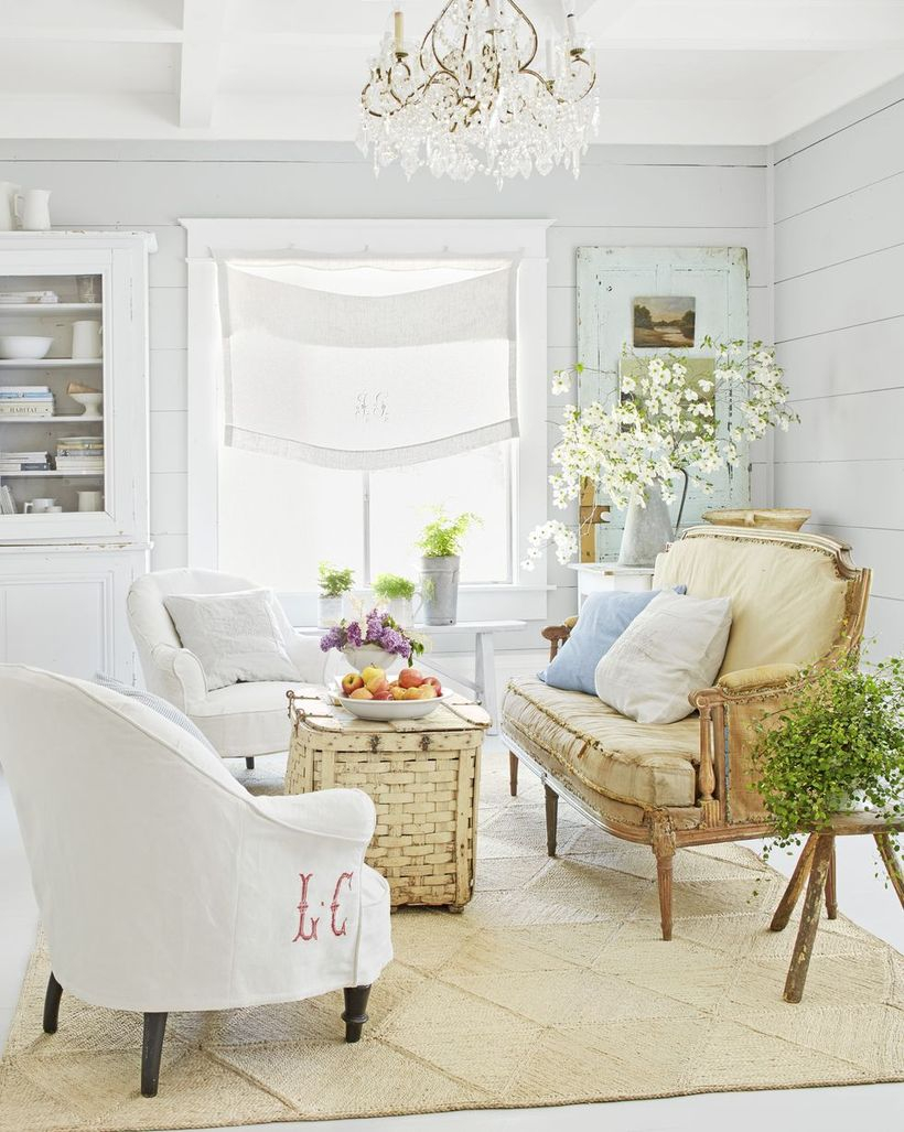 White and light blue cushion with basket table