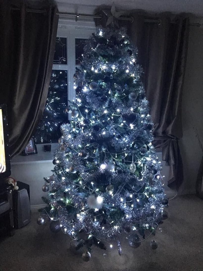 White chrismast tree and white light