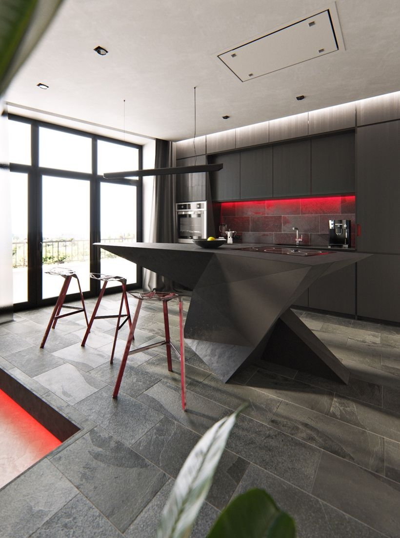 Alluring-red-lighting-washes-down-a-black-tile-backsplash.-red-kitchen-bar-stools-which-are-the-magis-stool-one-look-hot-at-the-side-of-an-origami-style-central-island.