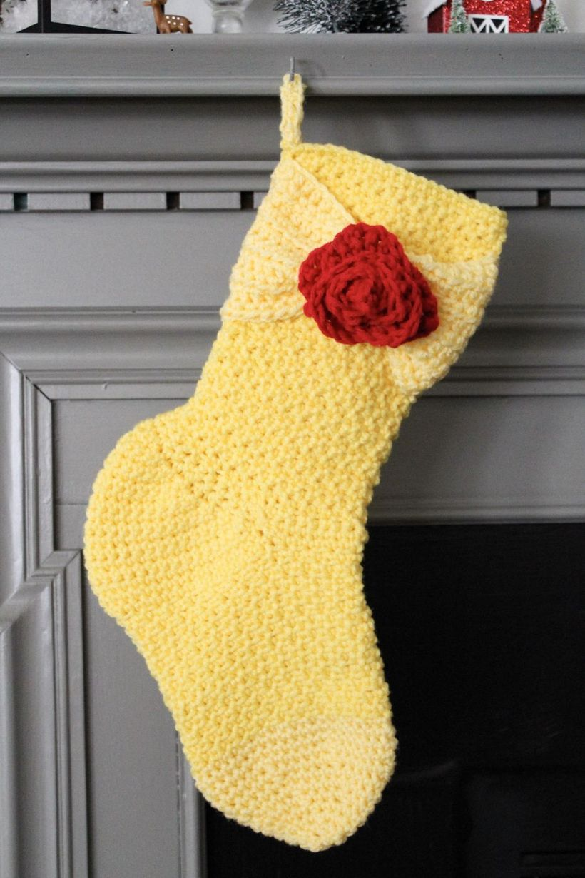 Classic-christmas-décor-ideas-with-belle-inspired-princess-crochet-yellow-stockings-dress-from-beauty-and-grace.