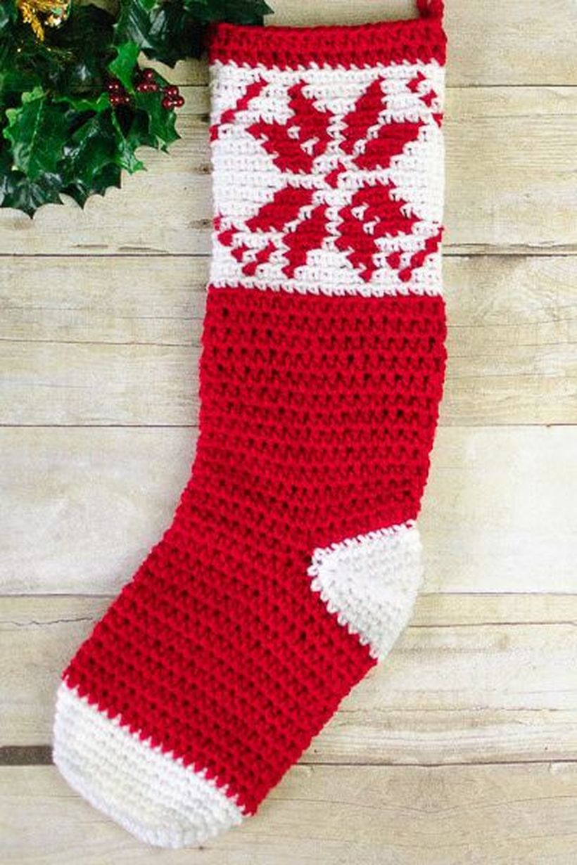 Classic-christmas-décor-ideas-with-fair-isle-snowflake-crochet-stocking-pattern.-your-favorite-holiday-can-be-captured-in-a-stocking-you'll-love-every-christmas.