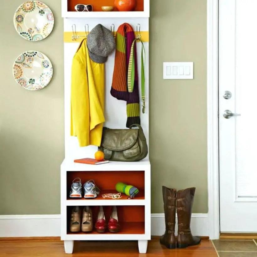 Narrow-hall-tree-coat-racks-storage-rack-with-bench-mirror