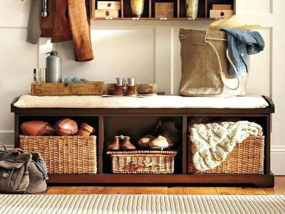 Vintage-wooden-entryway-bench-entry-with-storage-simple-shelves-benches-arrange-shoes-clothes-brown-sisal-rug-ideas-tile-floor-wi