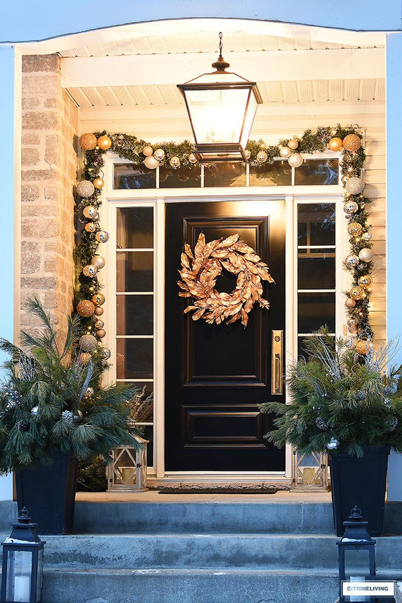 Elegant-christmas-porch-gold-magnolia-wreath-2-1
