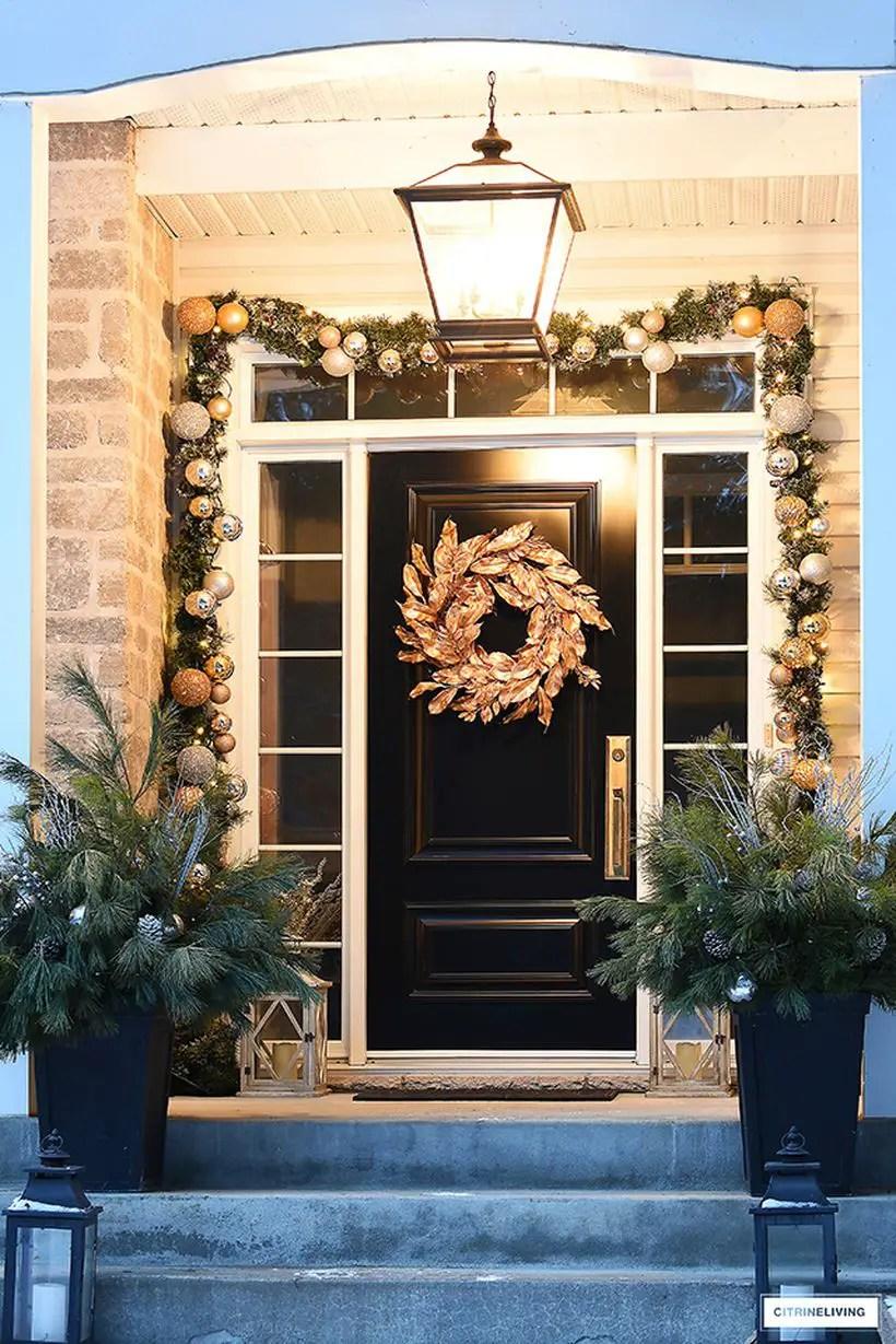 Elegant-christmas-porch-gold-magnolia-wreath-2-1