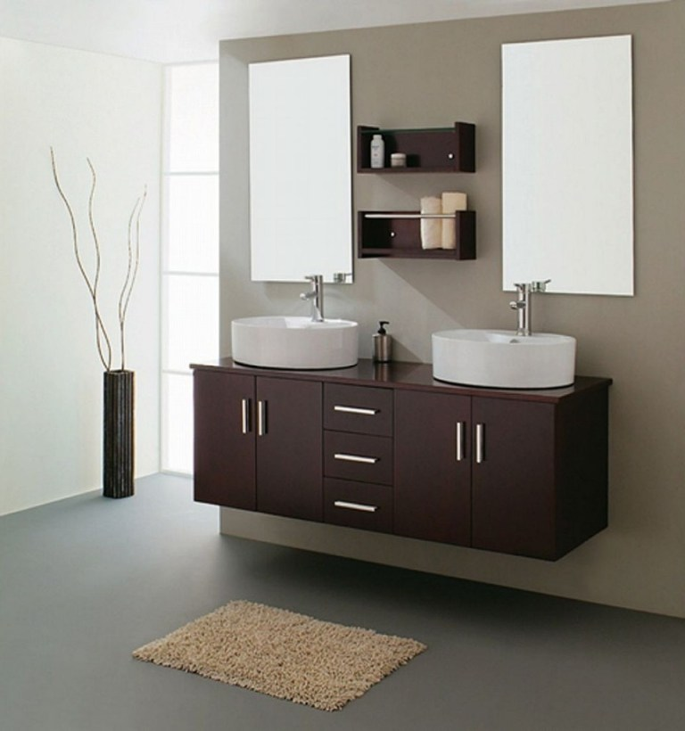 2-dashing-espresso-bathroom-sink-cabinets-feats-with-mini-brown-fluffy-rug-on-plain-grey-floor