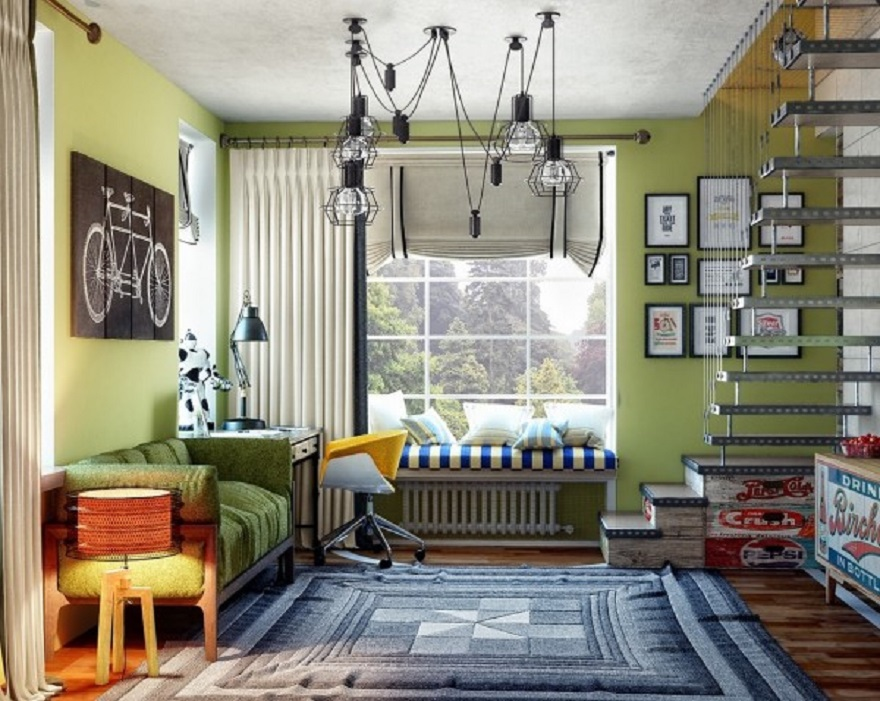Basement teenage bedroom with plenty of seating without feeling too cluttered 2