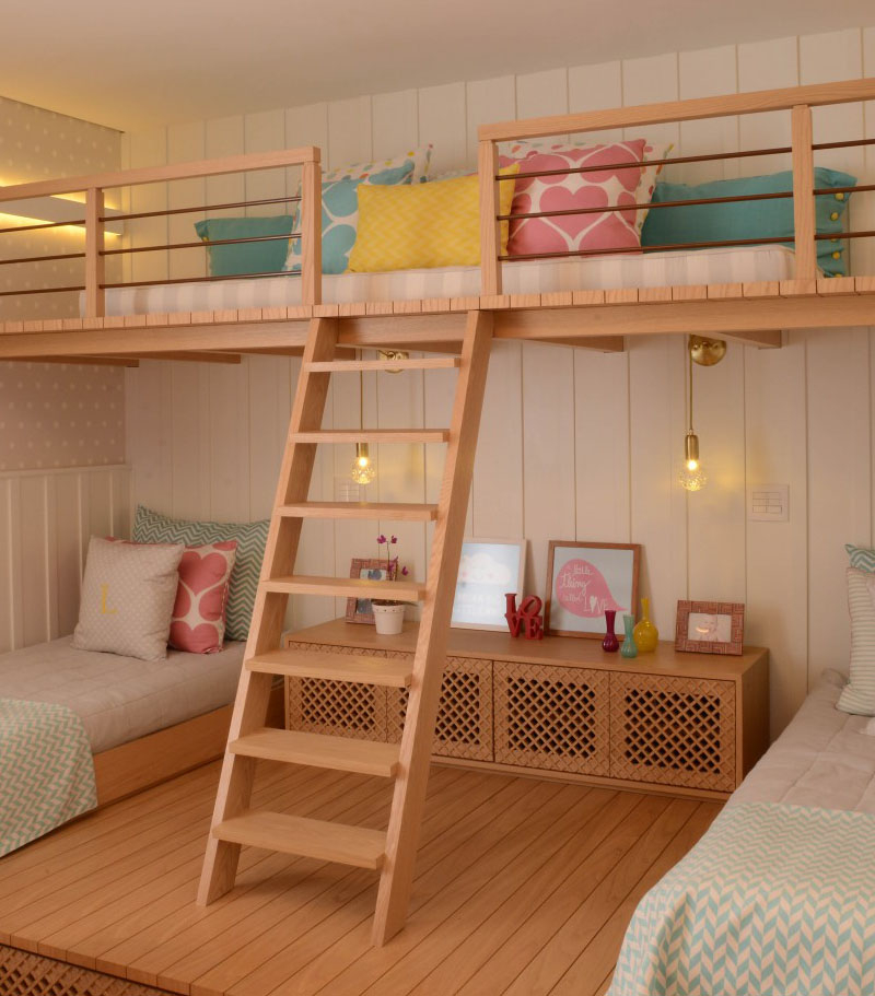 Beautiful bedroom for girls featuring a lofted playspace for both fun and rest 4