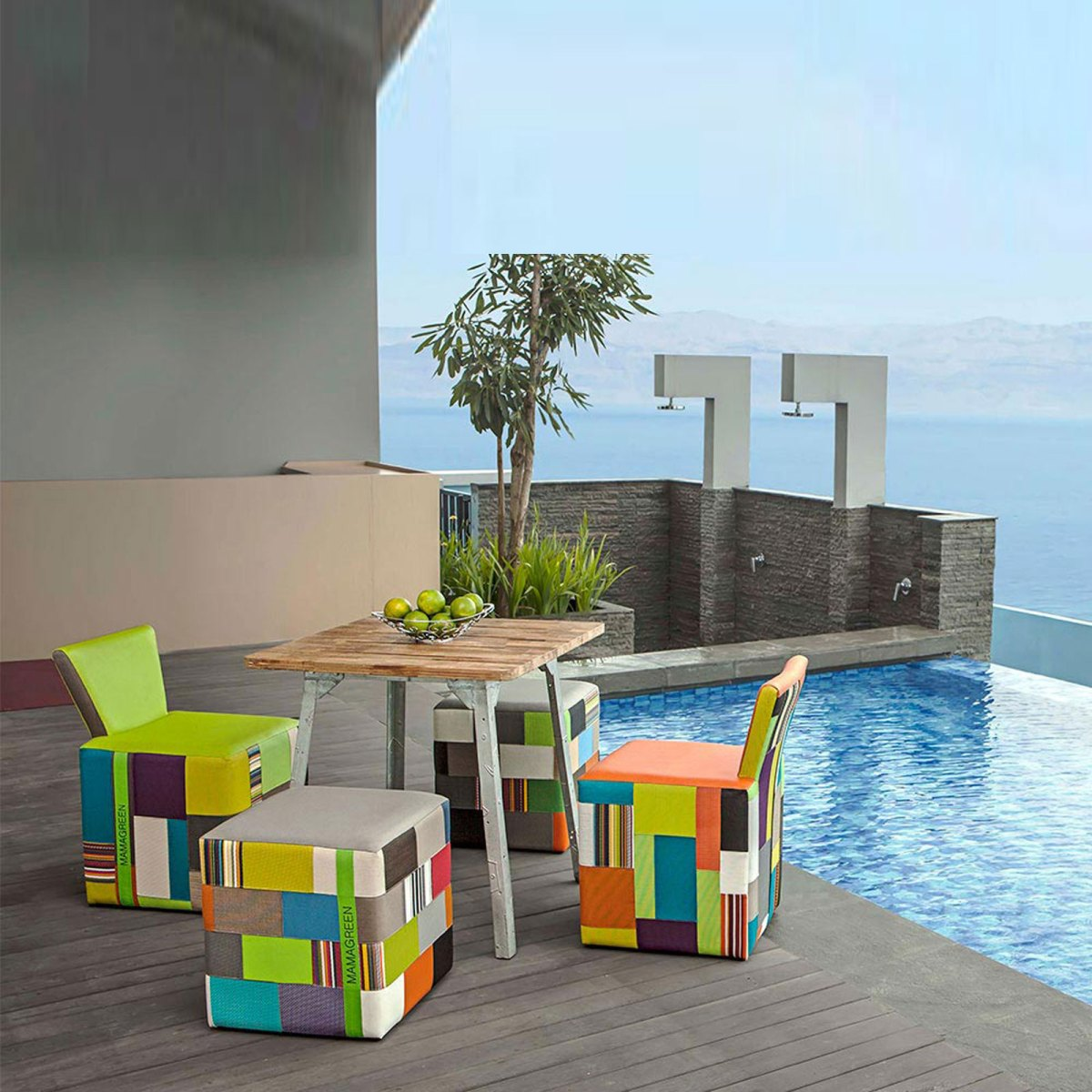 Contemporary-outdoor-furniture-design-with-colorful-decor-and-wooden-table-in-infinity-pool-landscaping-ideas