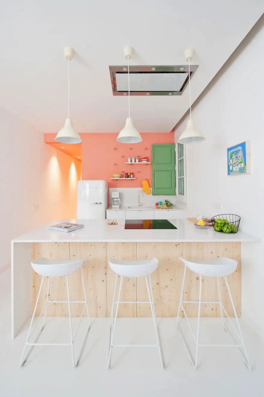 Coral pink kitchen decor