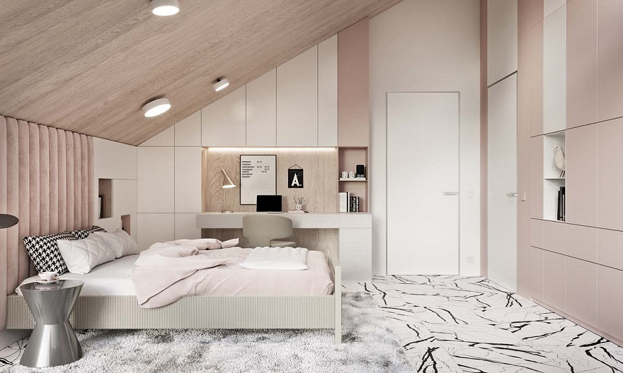 Luxurious kid's bedroom with study space in neutral colors that anyone will love 1