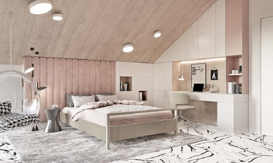 Luxurious kid's bedroom with study space in neutral colors that anyone will love 2