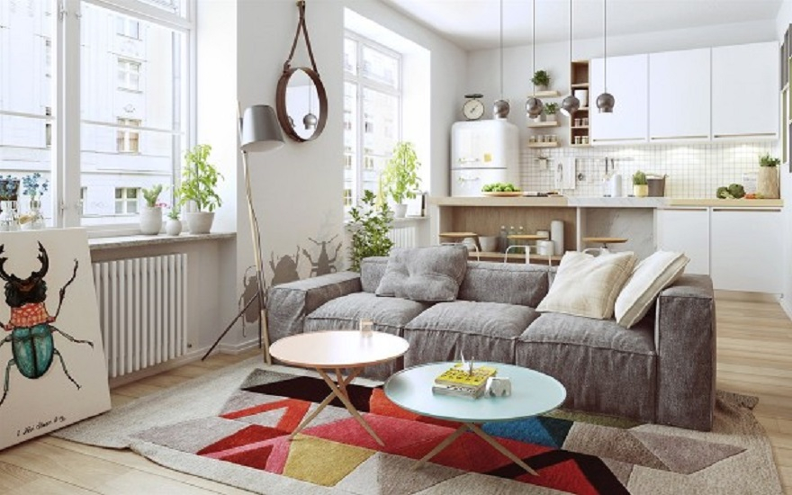 Nordic apartment design with more colorful and plenty of natural themes 1