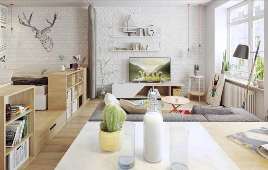 Nordic apartment design with more colorful and plenty of natural themes 2