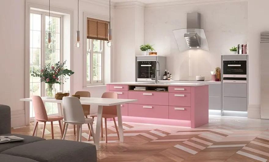 Watermelon-pink-grey-kitchen