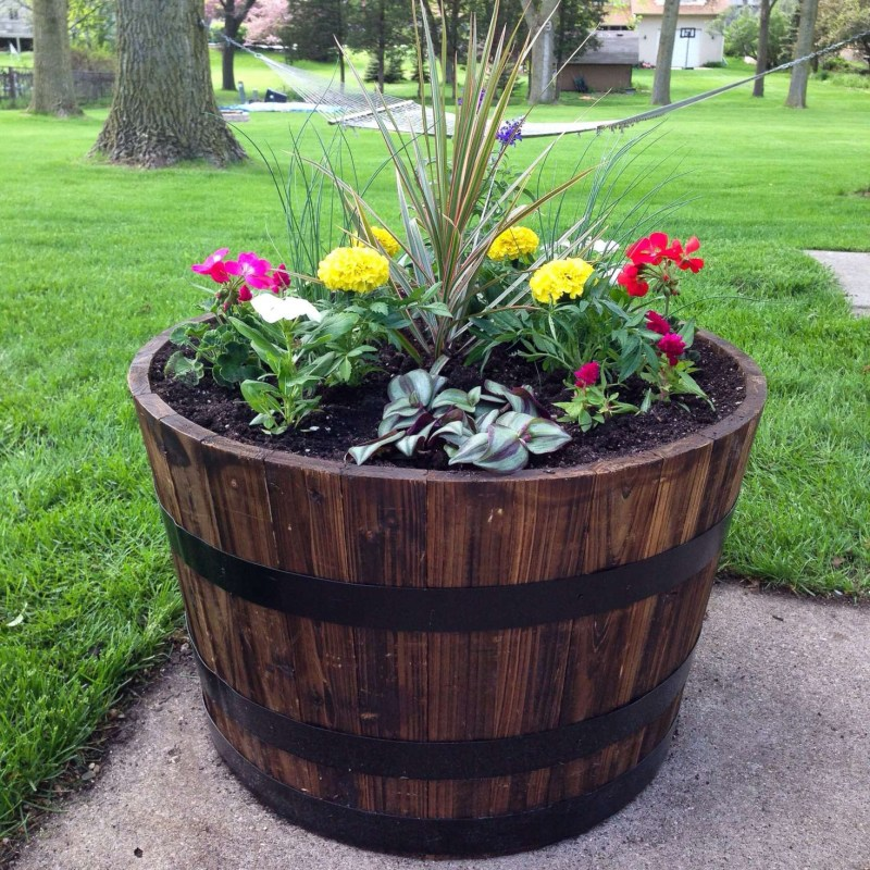 Beautiful wine barrel garden ideas and whiskey barrel planter | garden | wine barrel planter