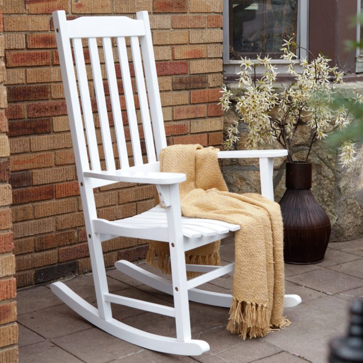 Patio furniture rocking benches pertaining to 2018 coral coast indoor/outdoor mission slat rocking chair - white