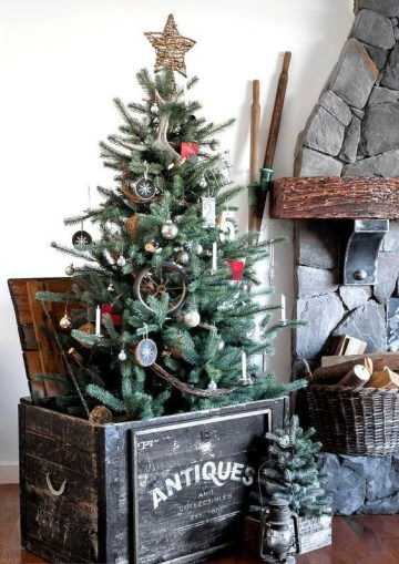 1 02-a-rustic-christmas-tree-with-antlers-wood-slice-ornaments-a-twig-star-on-top-branches-and-an-antique-crate-as-a-base
