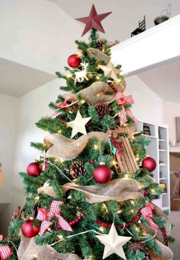 1 12-a-gorgeous-rustic-christmas-tree-with-pinecones-wooden-stars-and-sledges-red-balls-and-plaid-bows-a-star-on-top