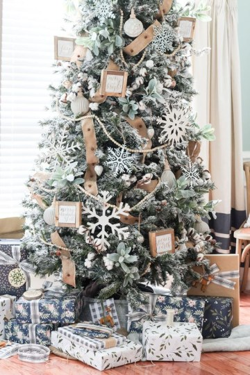 1 16-a-flocked-farmhouse-christmas-tree-with-pale-greenery-large-cardboard-snowflakes-burlap-ribbons-and-little-signs-in-frames