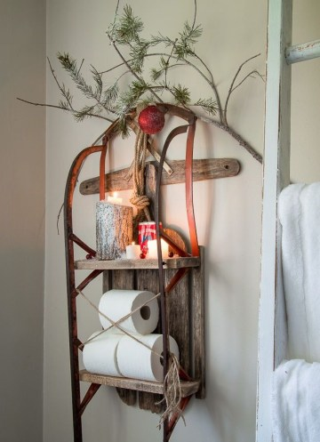 1 christmas-snow-sleigh-shelf-diy-bathroom-decor-via-funkyjunkinteriors